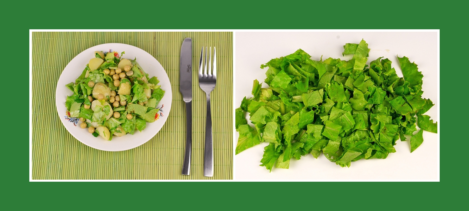 Gartensalat Salatblätter für Kartoffesalat mit Erbsen