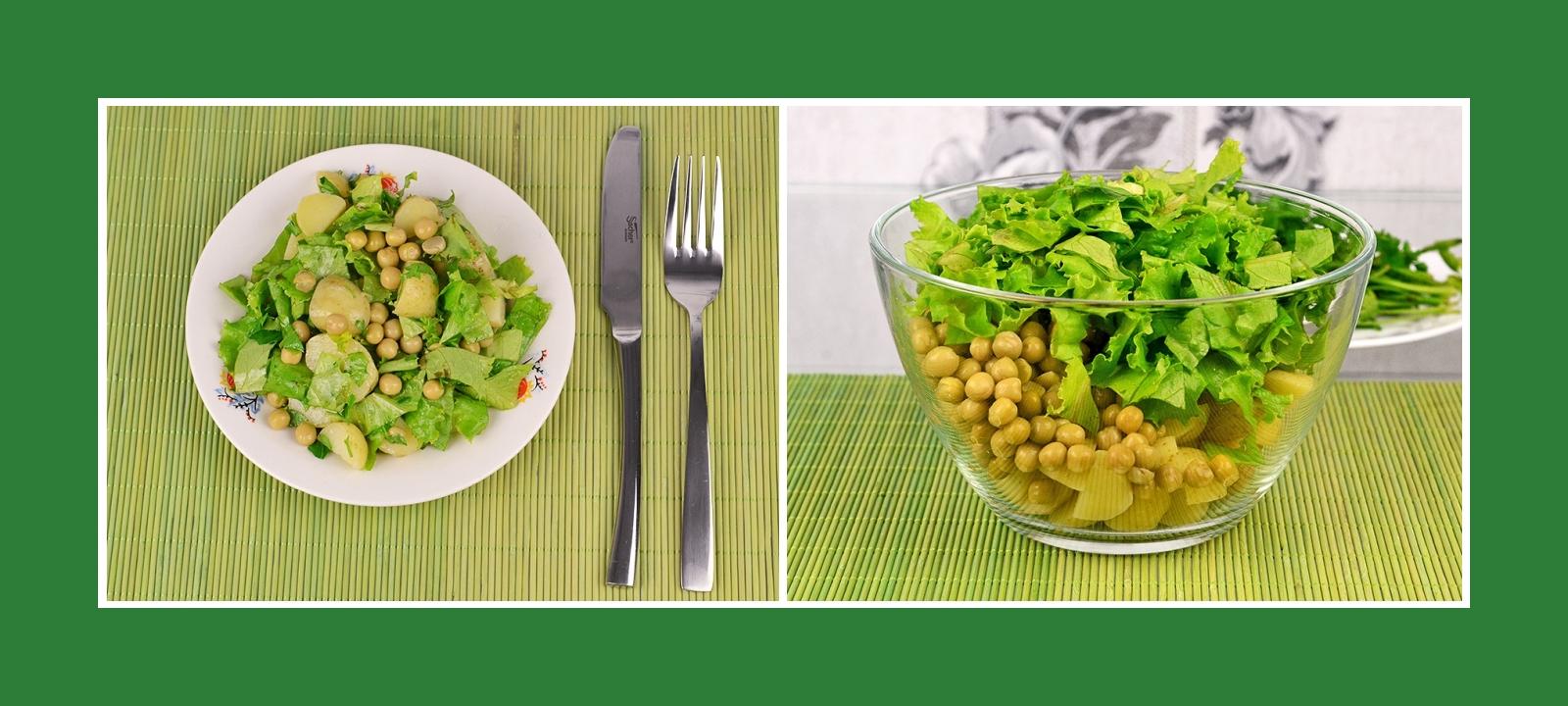 Kartoffelsalat mit Erbsen und knusprigen Salatblättern