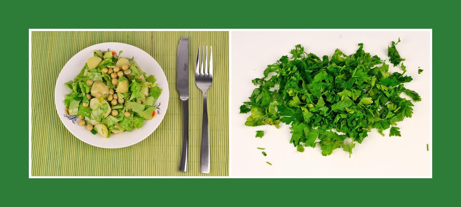Pikante Petersilie für Kartoffelsalat mit Erbsen