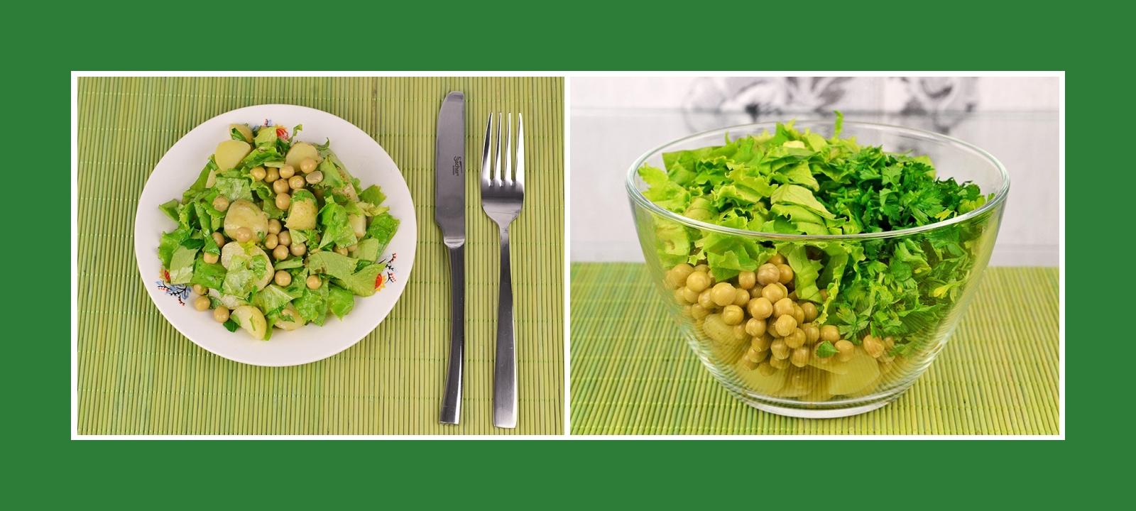 Kartoffelsalat mit pikanter Petersilie, Erbsen und erfrischenden Salatblättern