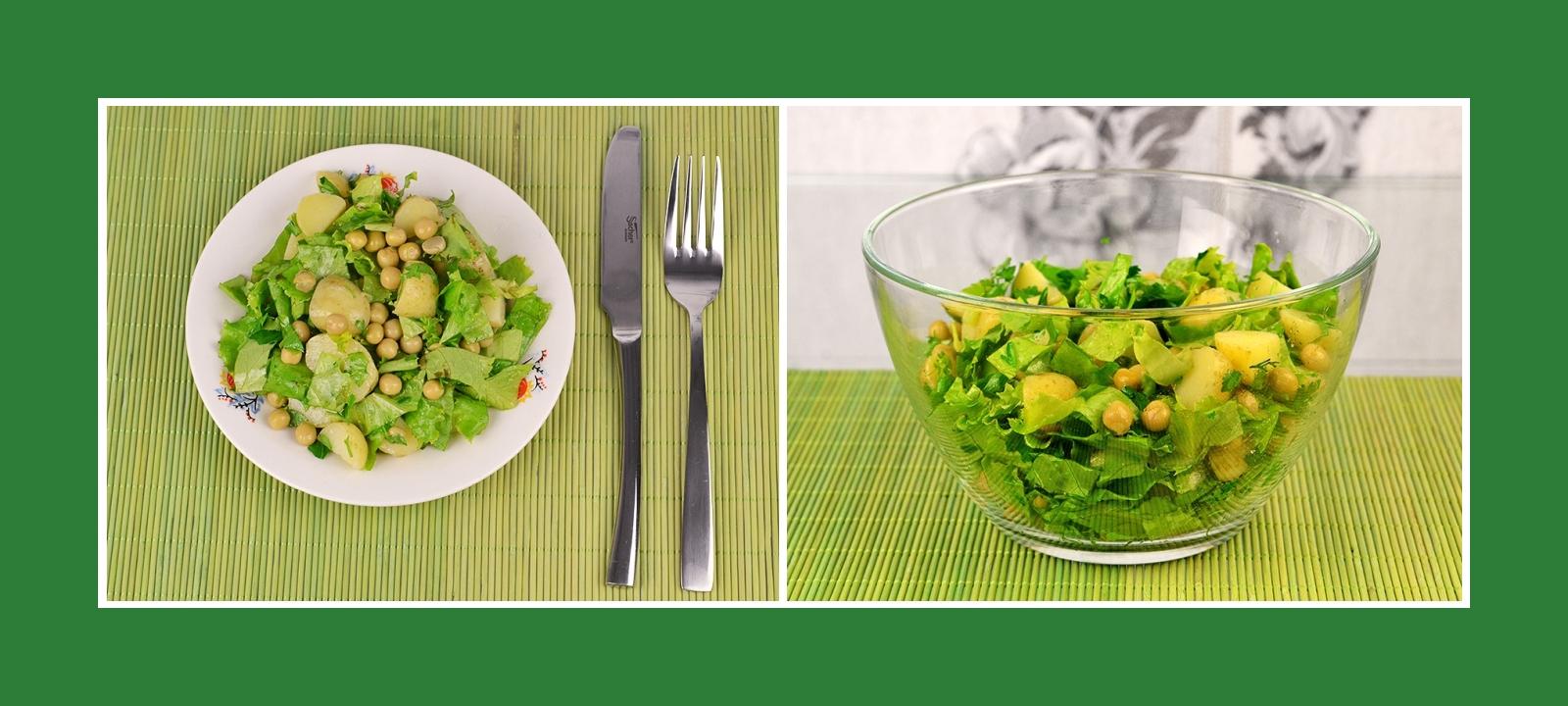 Einfacher und leckerer Salat aus Frühkartoffeln mit Erbsen und Kräutern