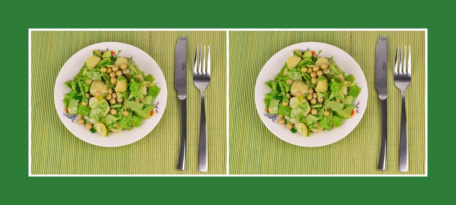 Gesunder Kartoffelsalat mit Erbsen, Petersilie und Gartensalat