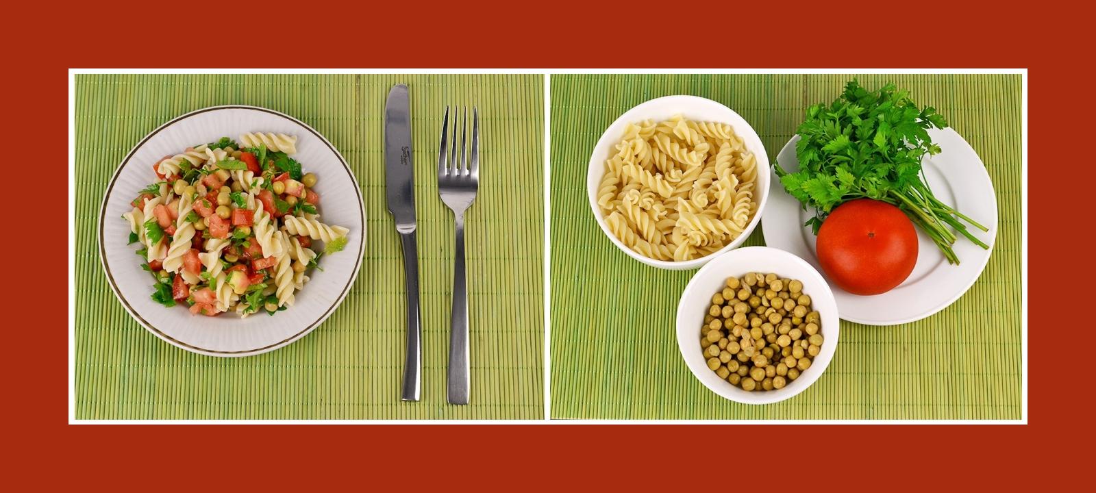 Leckerer Minuten-Salat mit Nudeln, Erbsen, Tomaten und pikanten Kräutern