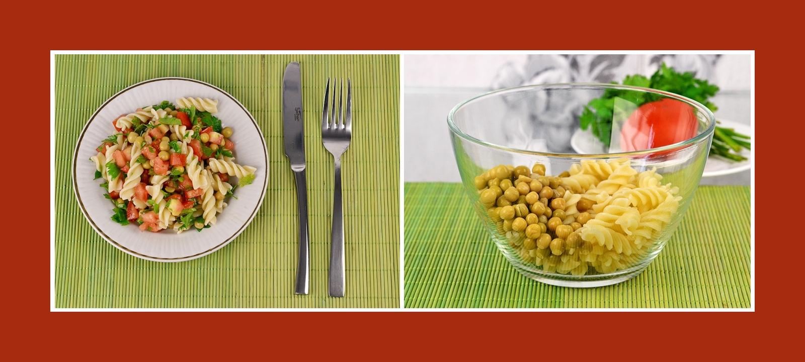 Salat aus Nudeln und konservierten Erbsen