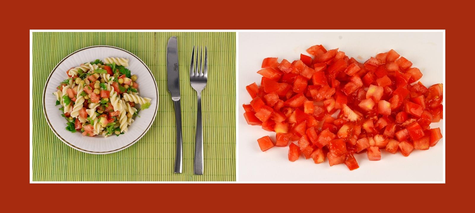 Frisch gehackte Tomaten für Nudelsalat