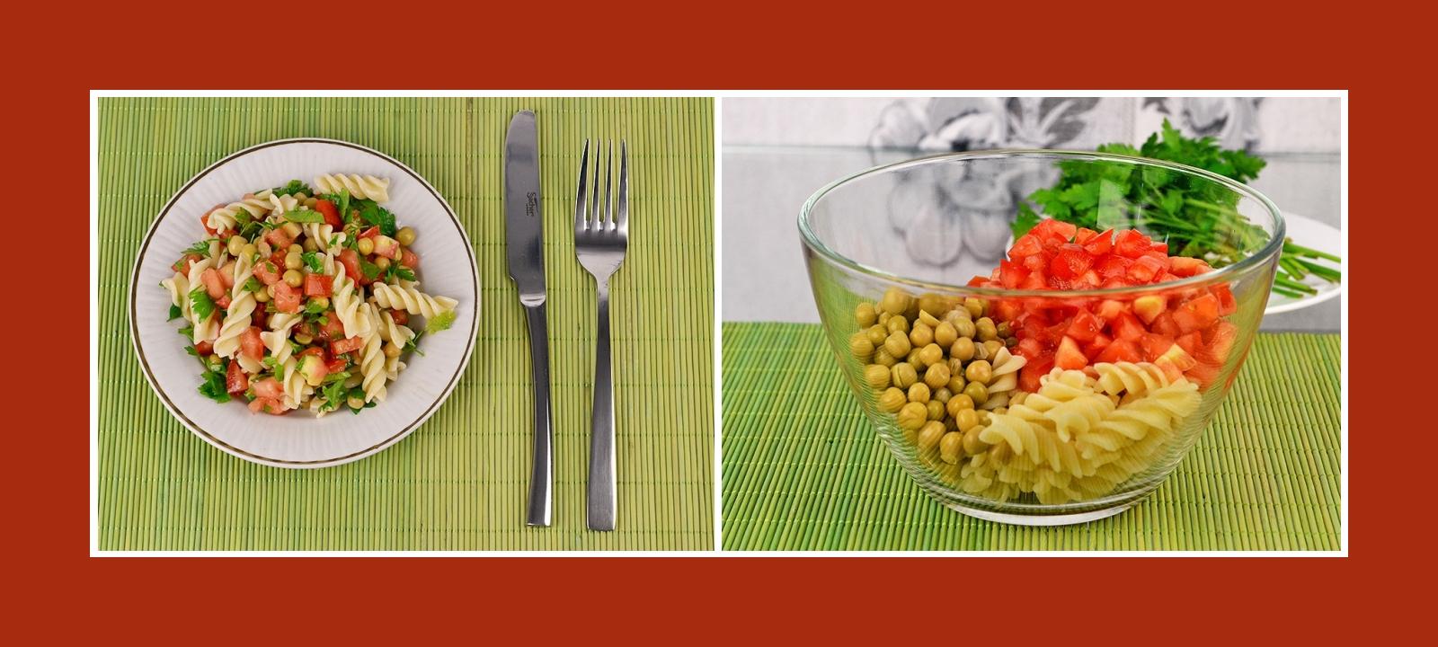 Nudelsalat mit frischen Tomaten und Erbsen aus der Konserve