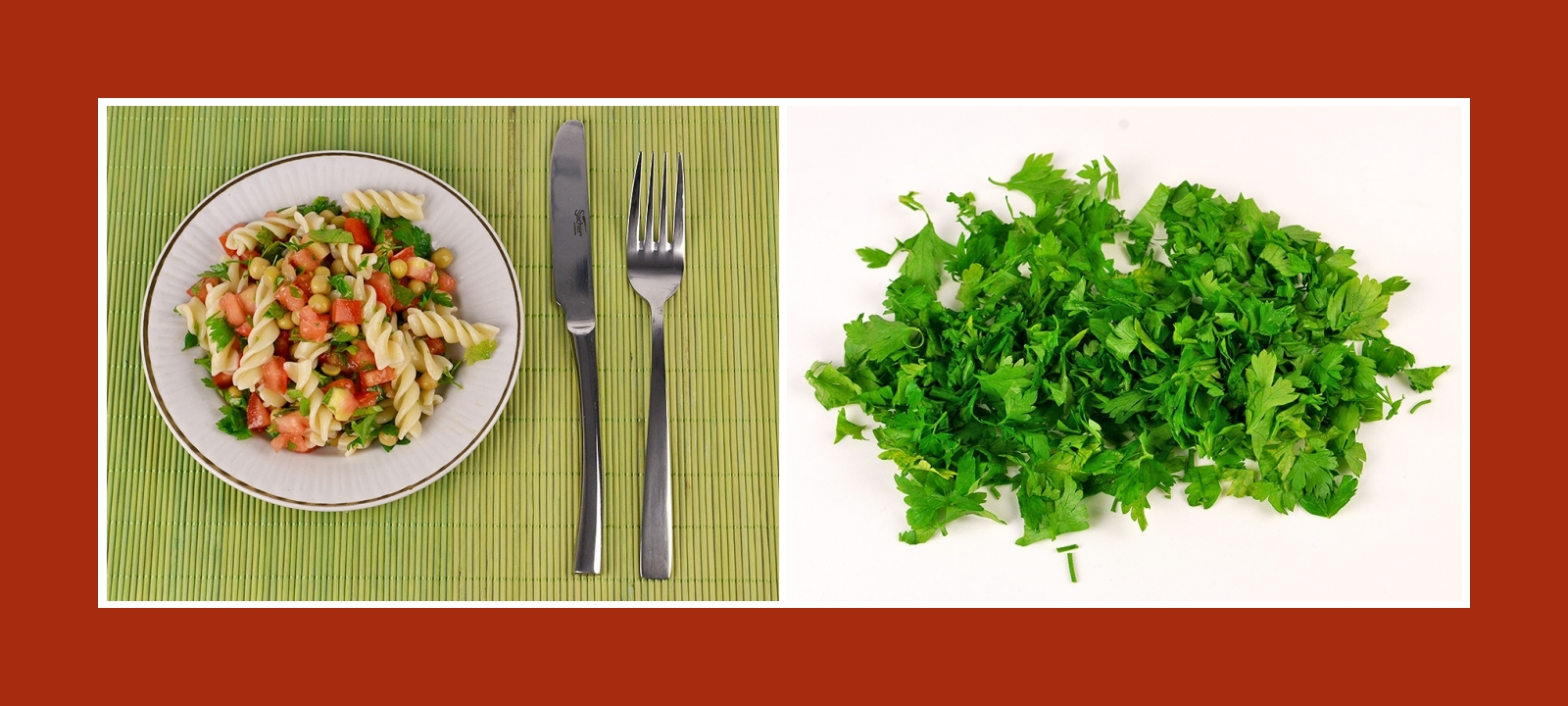 Pikante Kräuter Petersilienblätter für Nudelsalat