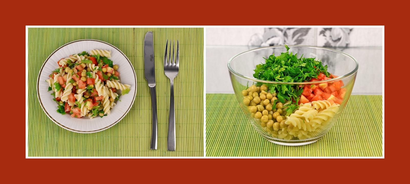 Nudelsalat mit Tomaten, Erbsen und Petersilie