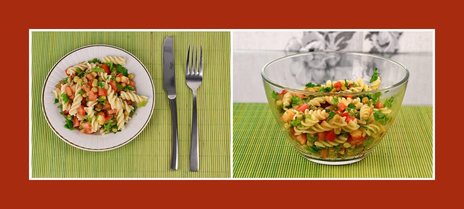 Nudelsalat mit Erbsen und frischem Gemüse und Kräutern
