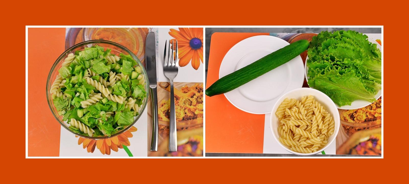 Gesunder Salat in Handumdrehen aus Nudeln, Gurken und Salatblättern