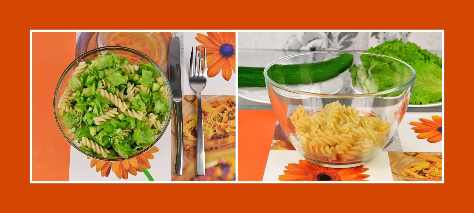 Gekochte Nudeln für grünen Salat