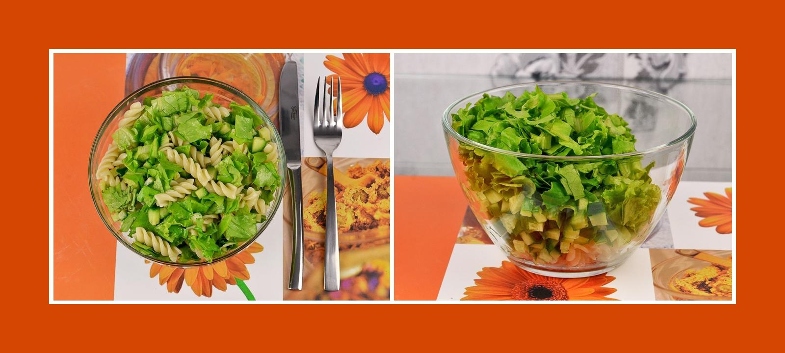 Nudelsalat mit Salatblättern und Gurken