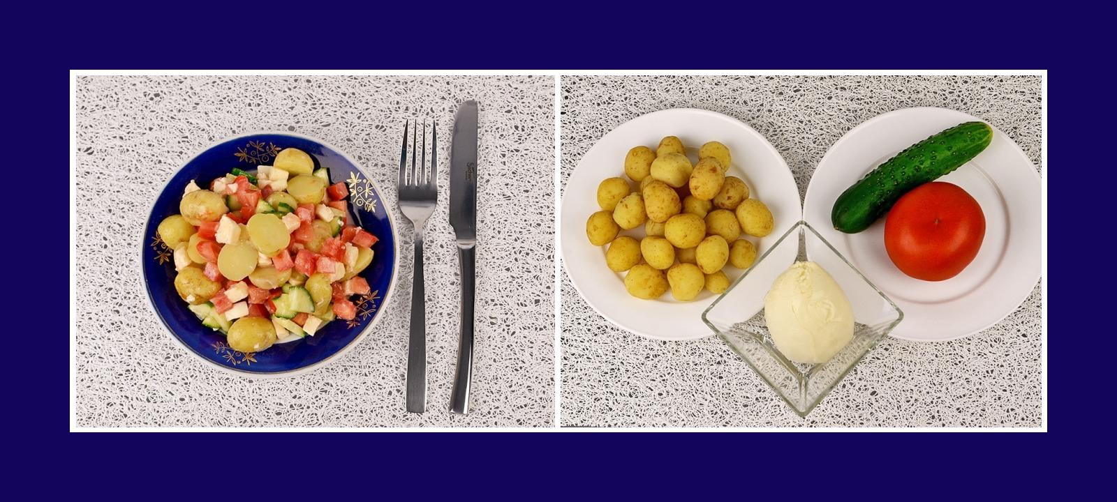 Köstlicher Kartoffelsalat mit mediterranem Hauch aus Tomaten, Mozzarella und Gurken