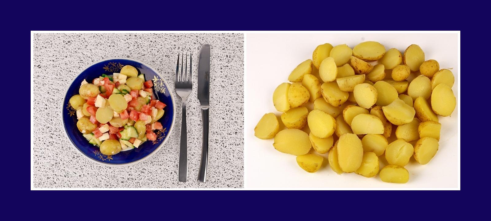 Frühkartoffeln für italienischen Salat mit Mozzarella