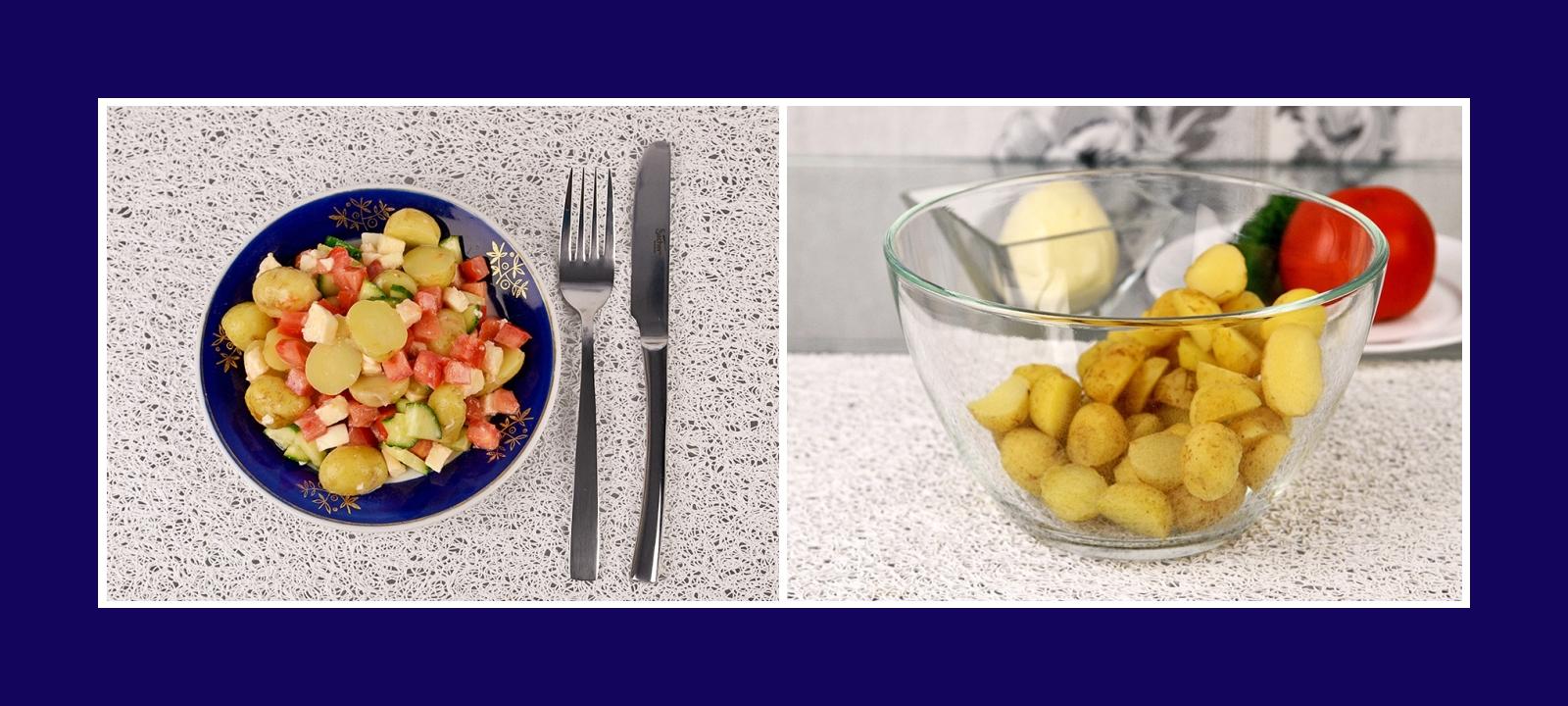 Salat aus Frühkartoffeln mit Mozzarrella