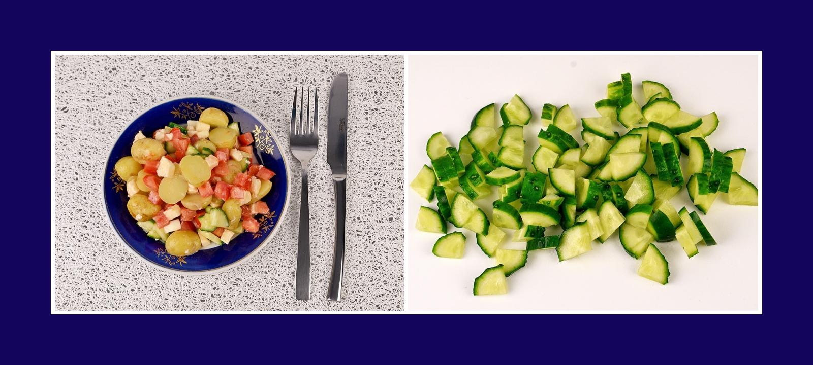 Frische und knusprige Gurken für italienischen Kartoffelsalat