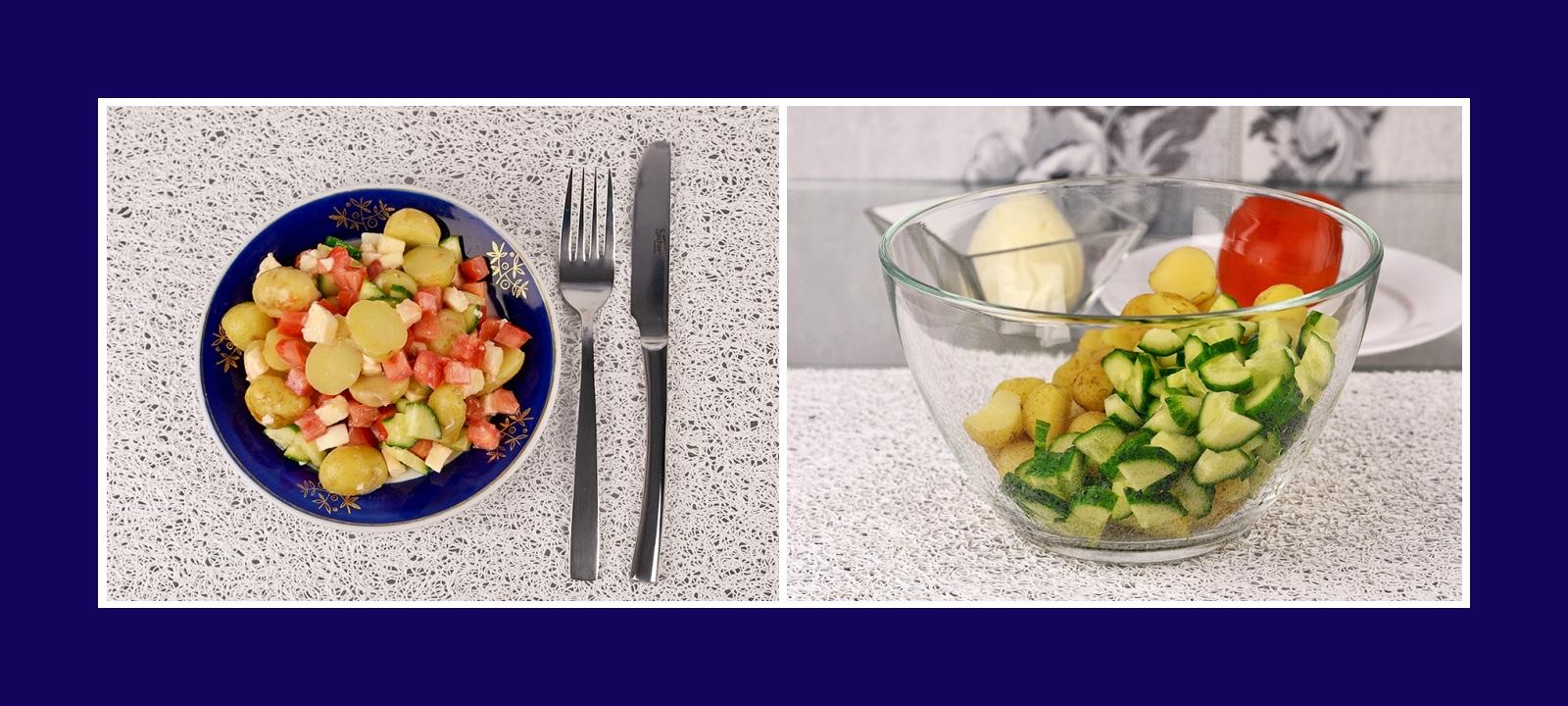 Italienischer Salat mit Frühkartoffeln und Gurken