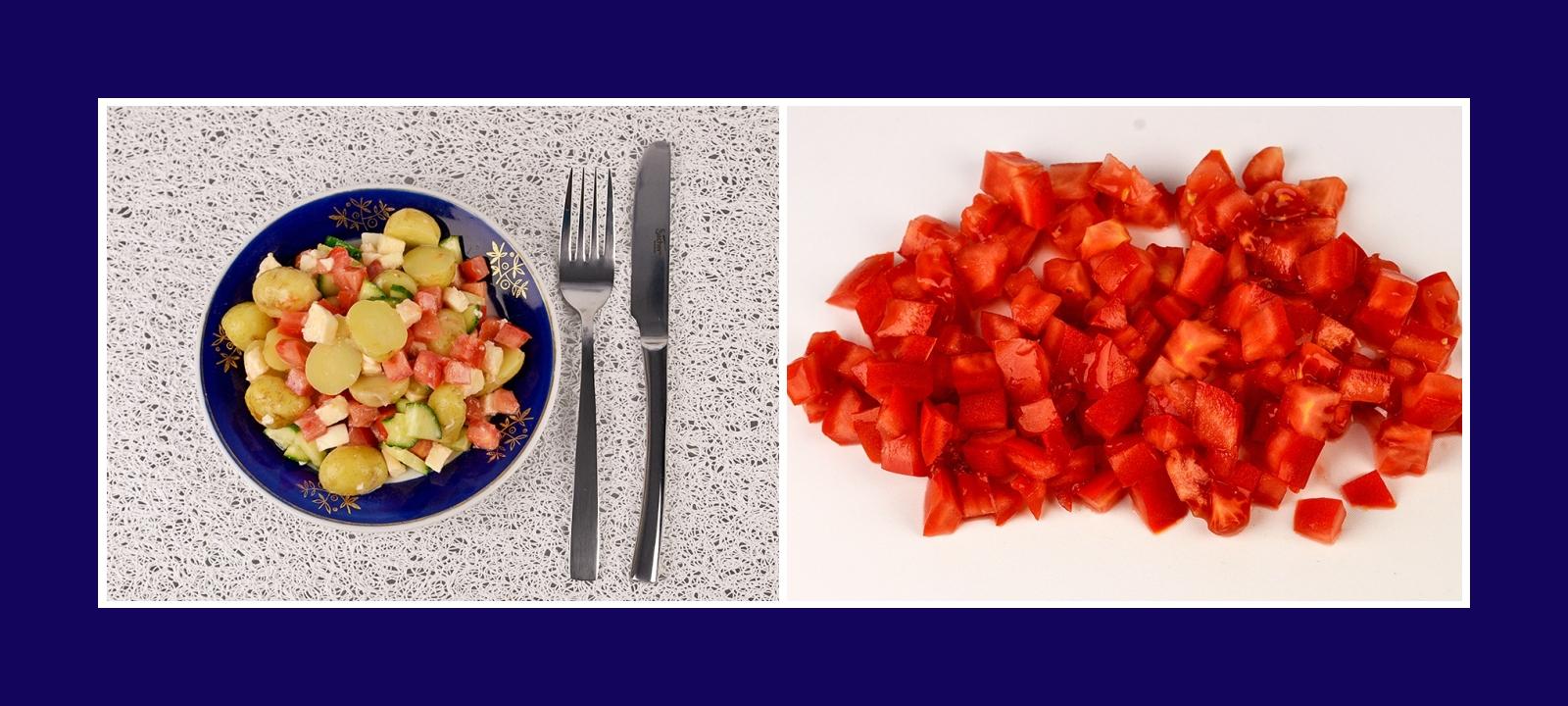 Frische Tomaten für Kartoffelsalat mit Mozzarella