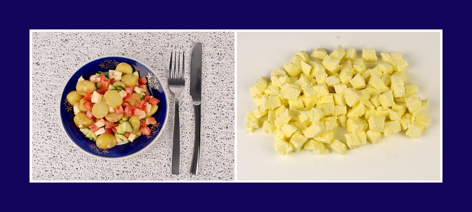 Mozzarella für Kartoffelsalat Gemüsesalat