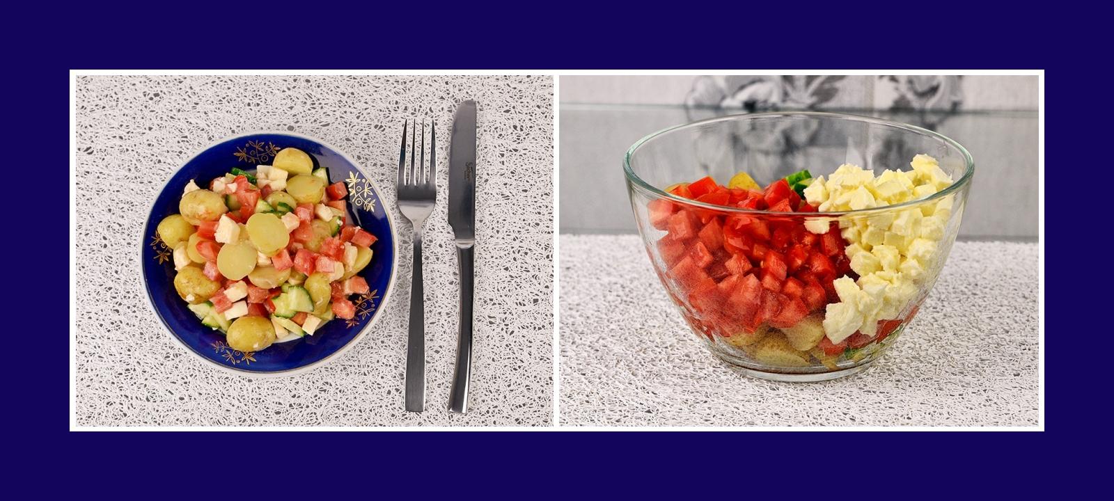 Kartoffelsalat mit Tomaten, Mozzarella und Gurken
