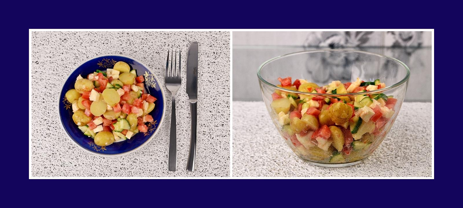 Köstlicher Salat aus Frühkartoffeln, Mozzarella, Gurken und Tomaten