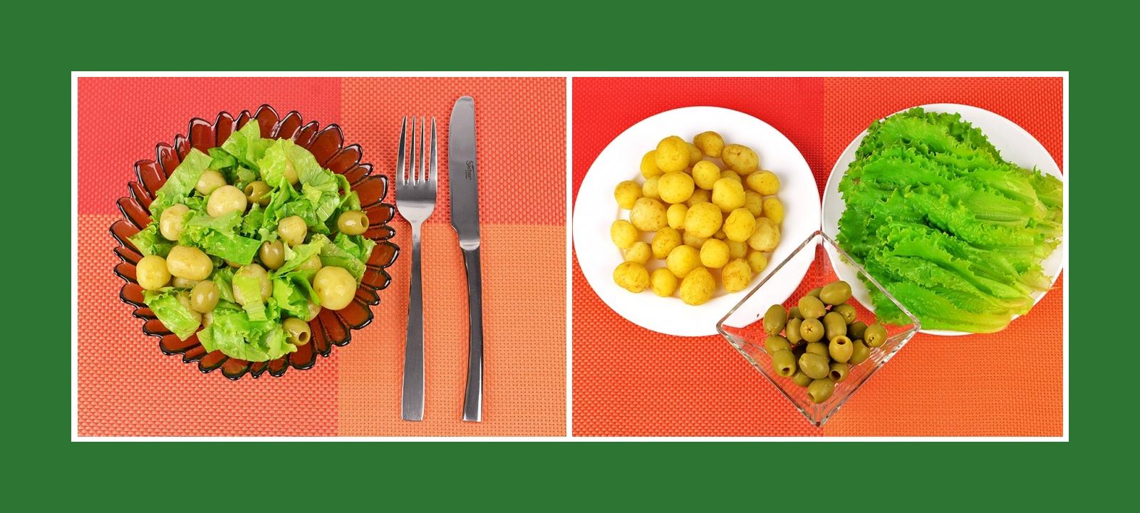 Simpler Frühkartoffelsalat aus knusprigen Salatblättern und pikanten Oliven