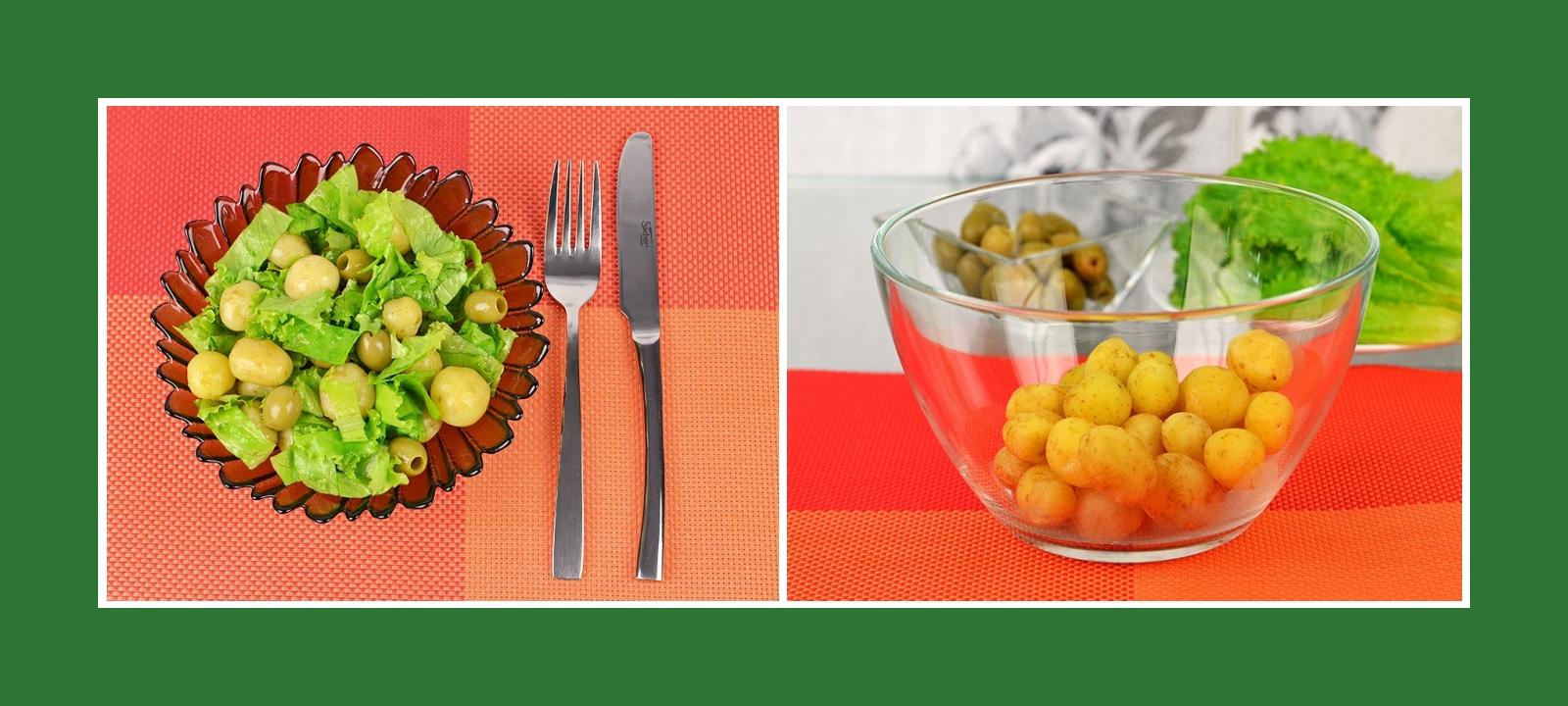 Frühkartoffeln gekocht für Salat mit Oliven