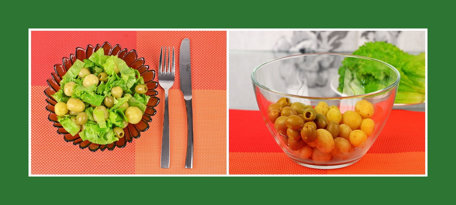 Kartoffelsalat mit grünen Oliven