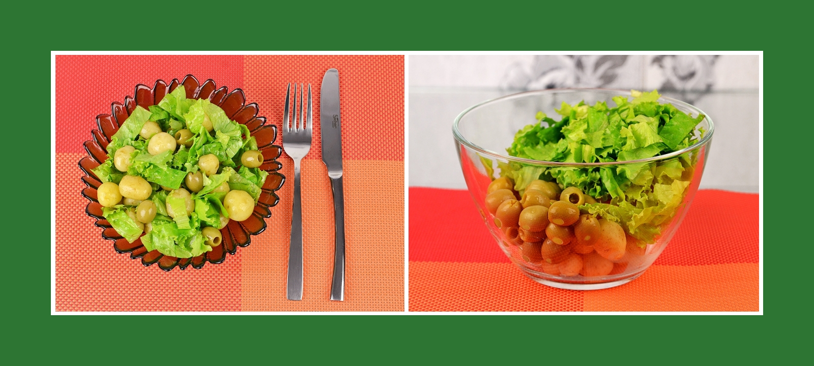 Kartoffelsalat aus Frühkartoffeln, Salat, Oliven