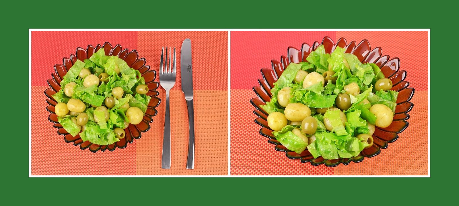 Leckerer Frühkartoffelssalat mit italienischen Oliven