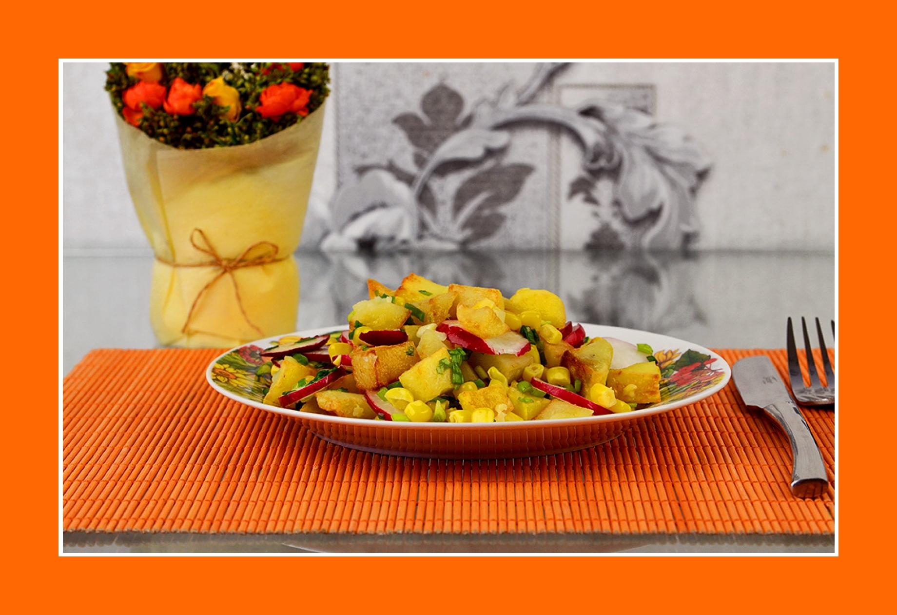Bunter Salat zum Grillen warmer Salat mit Frühlingsgemüse und Bratkartoffeln