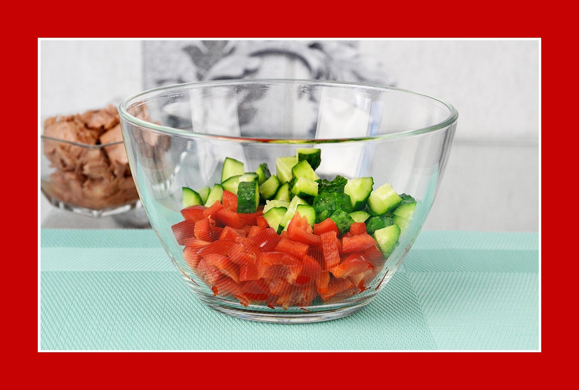 Thunfischsalat Gurkensalat Paprikasalt