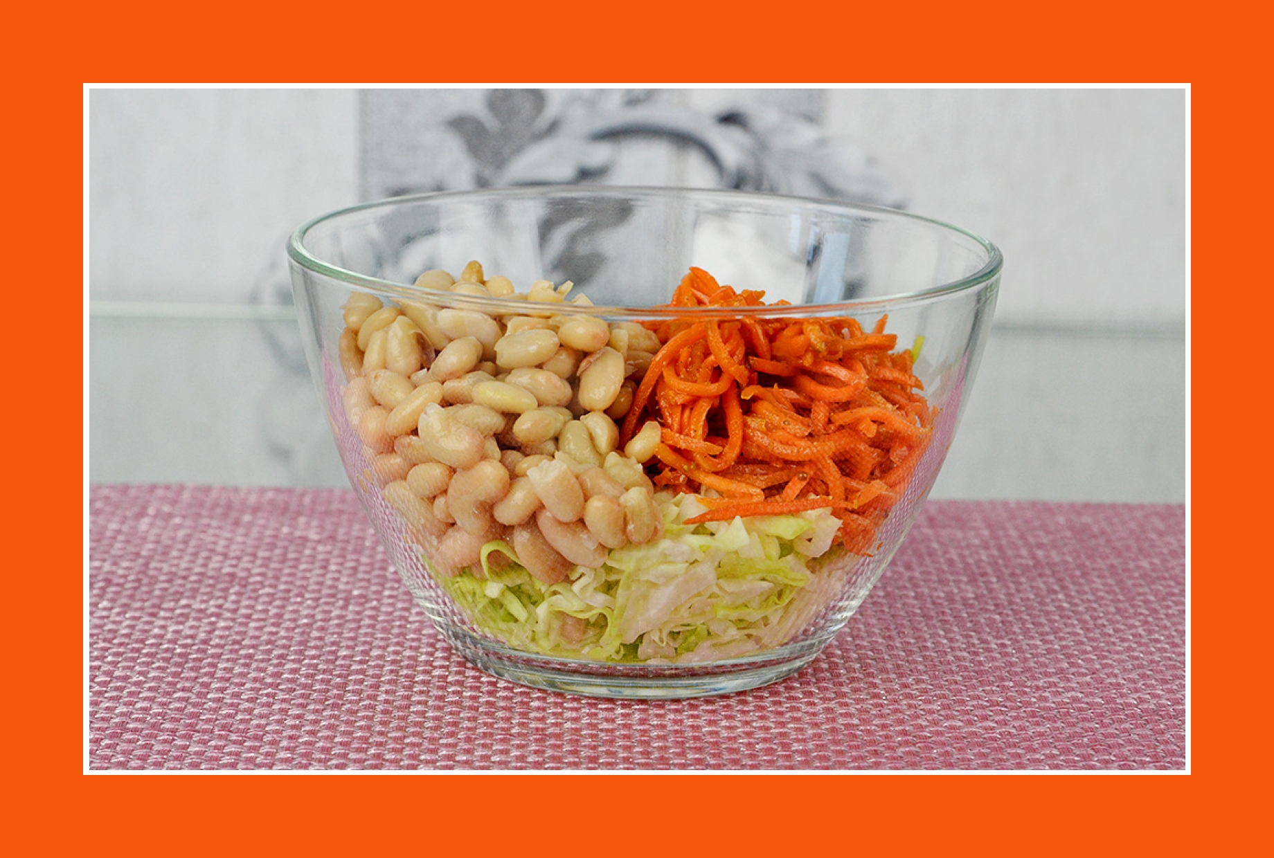 Bohnensalat mit Möhren und Weißkraut