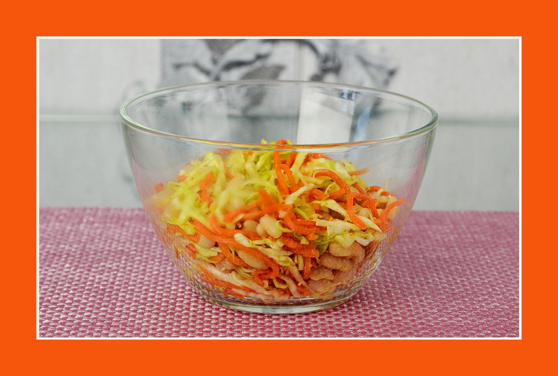 Möhrensalat mit Bohnen und Weißkraut