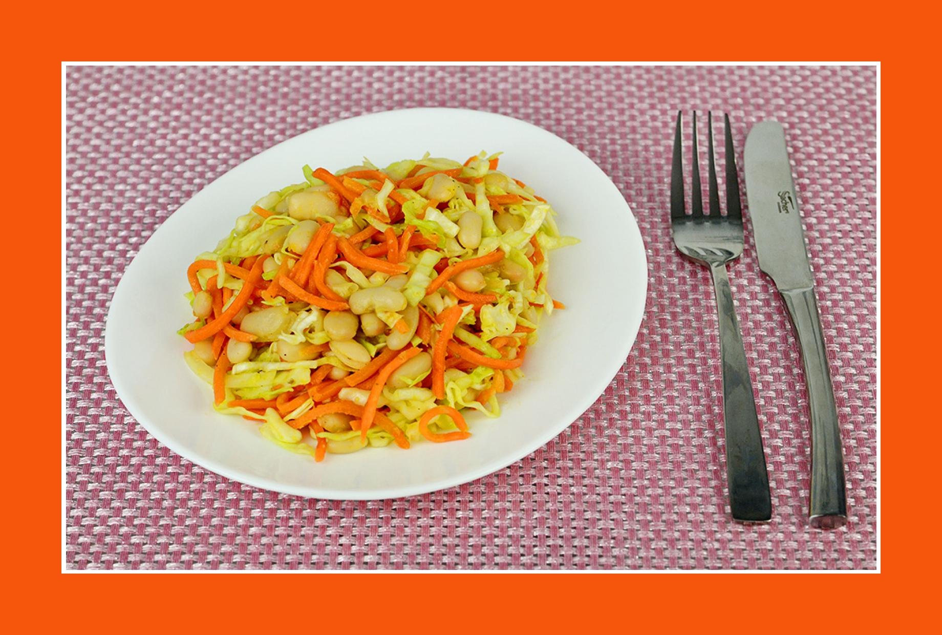 Bohnensalat Weißkrautsalat mit Möhren