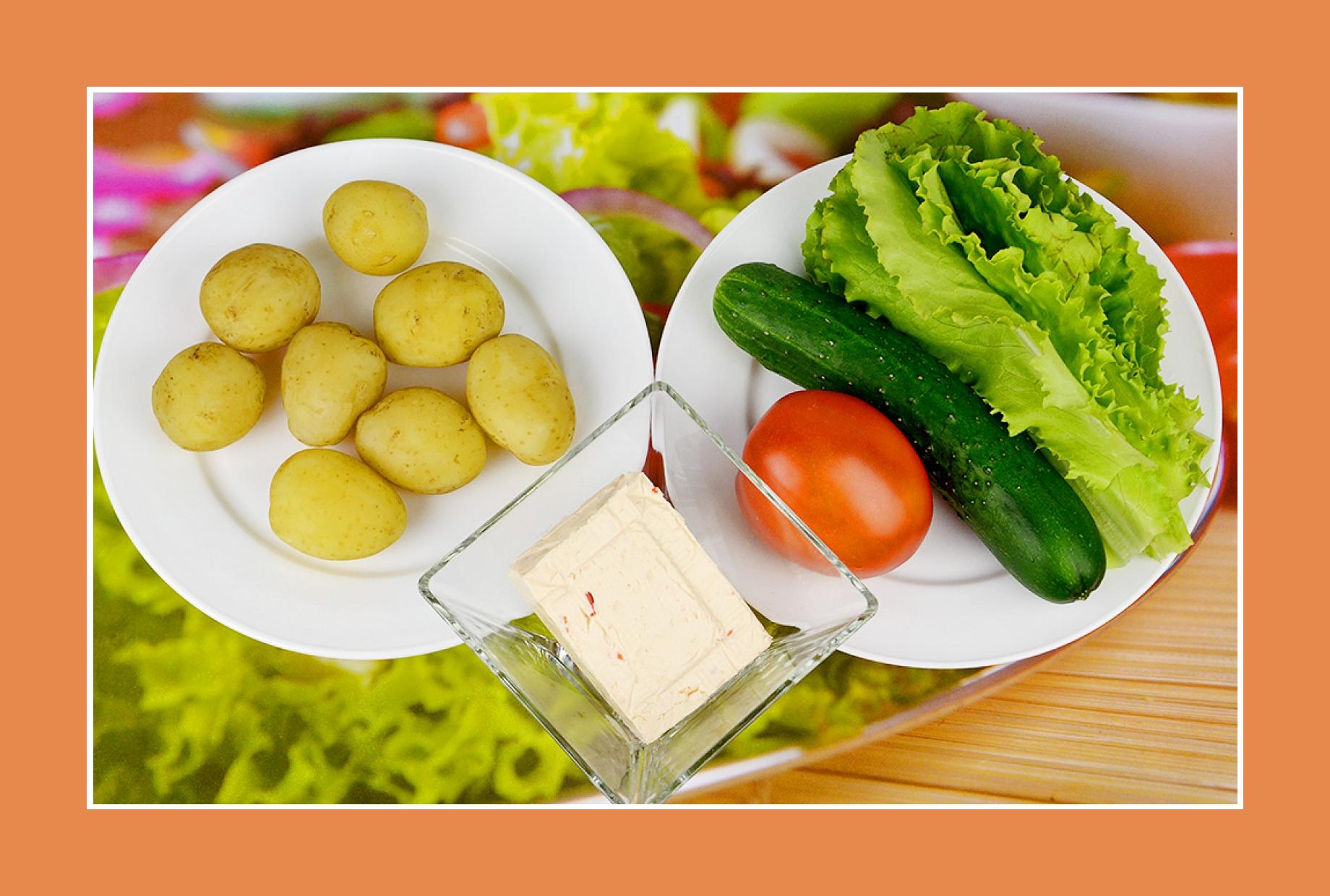 Rezept Kartoffelsalat mit Gurken Tomaten Eisbergsalat Schmelzkäse
