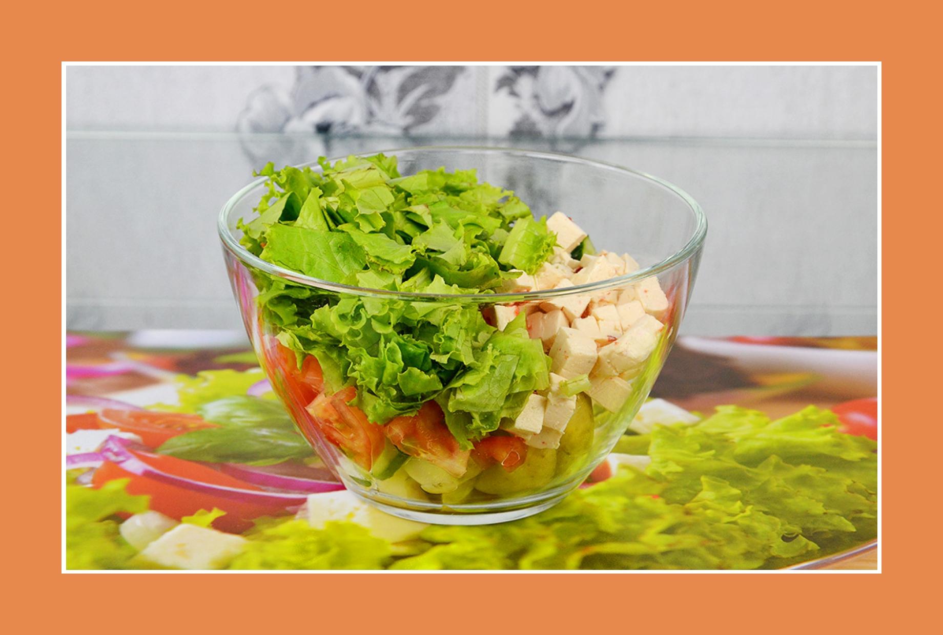 Tomaten Gurken Salat mit Eisbergsalat Gartensalat