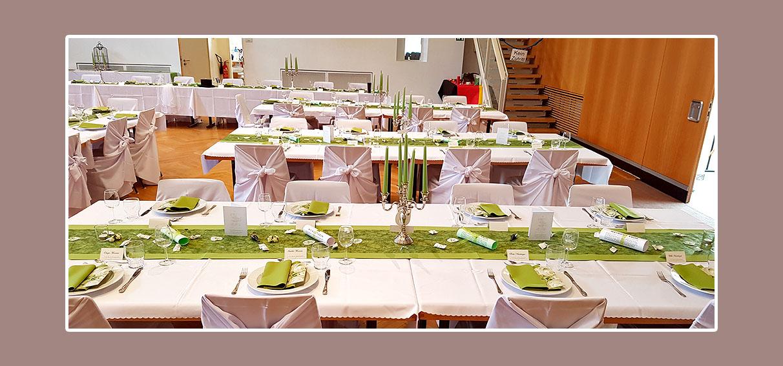 Tischdekoration für Hochzeit in Grün-Weiß