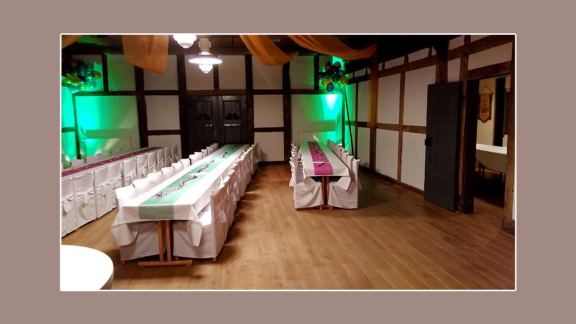 Festsaal Marschach Silvesterparty Deko