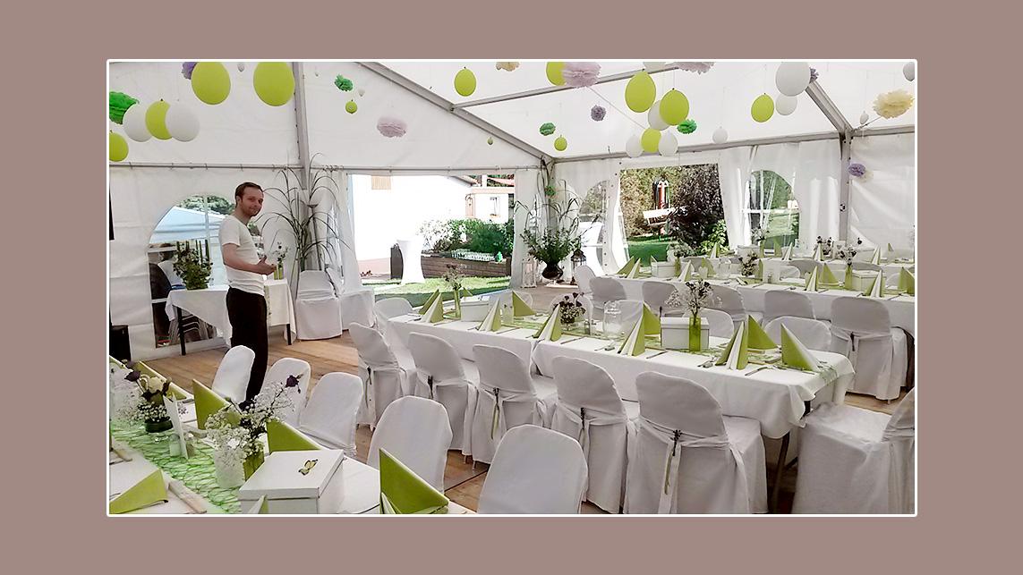 Hochzeitsdeko im Zelt Lutherstadt Wittenberg stuhlhussen mieten Variante 4