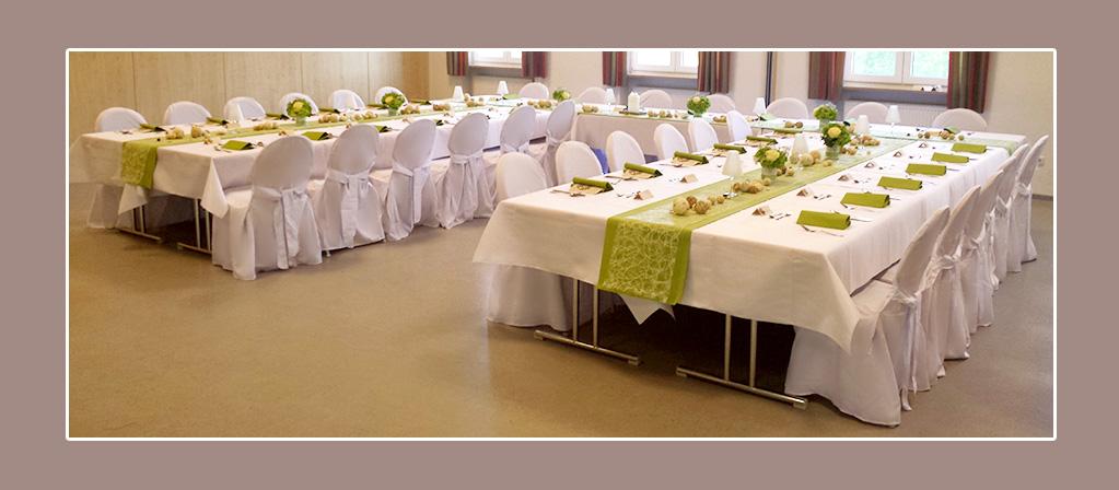 Hochzeitsdekoration Landkreis Bad Kissingen stuhlhussen mieten grün weiss
