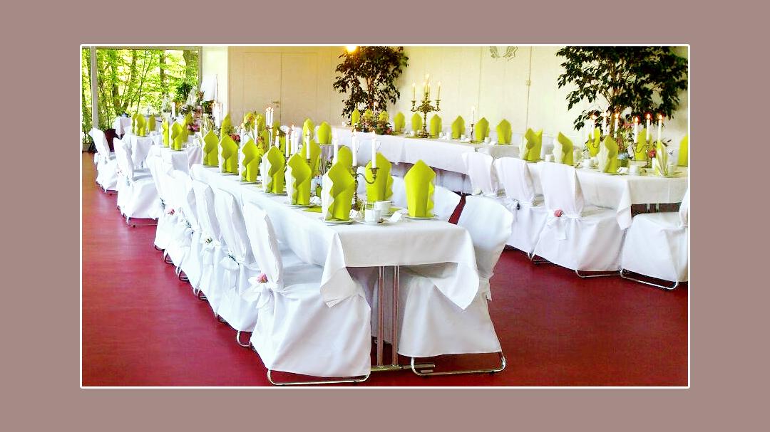 Hochzeitsdeko in grün-weiß in Mainzpavillon EGA Park Erfurt