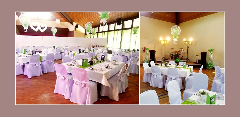 Stuhlhussen für Hochzeit - Hochzeitslocation Brohltahalle in Oberzissen, Umgebung Koblenz, Neuwied