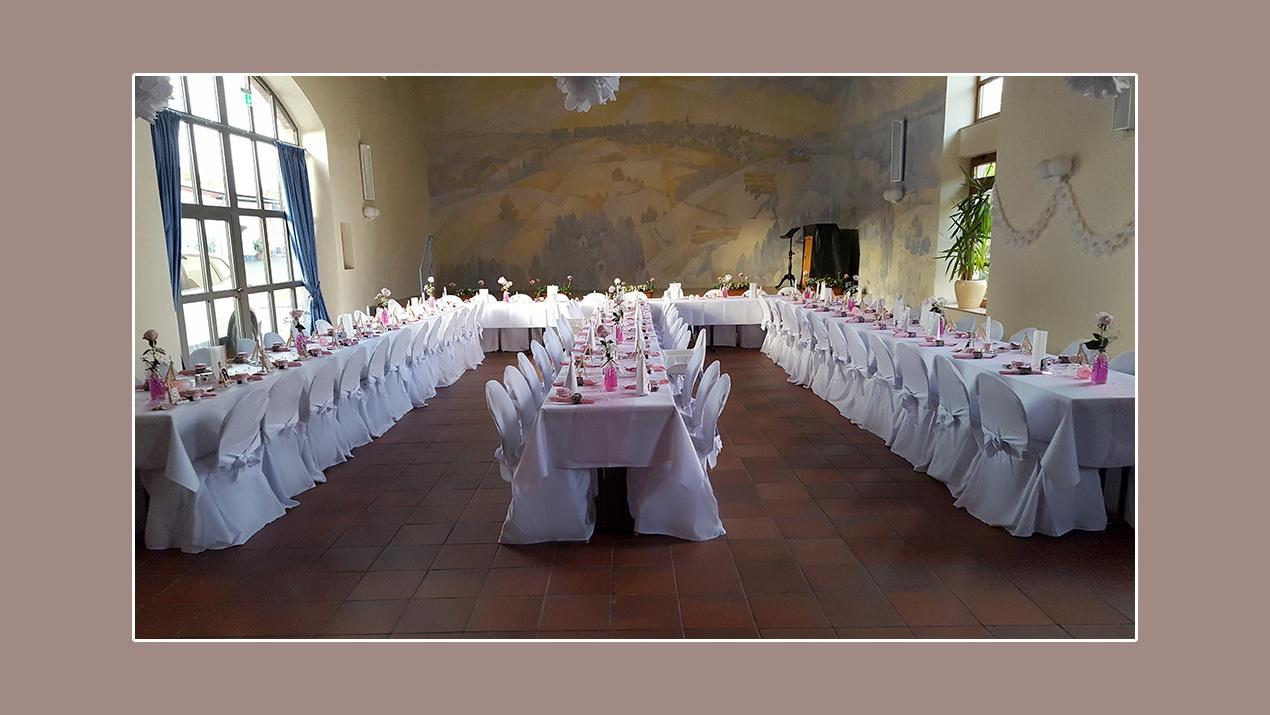 Hochzeitsdeko Haus des Bürgers in Hoeheinoed